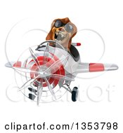 Clipart Of A 3d Male Lion Aviator Pilot Aviatior Pilot Wearing Sunglasses And Flying A White And Red Airplane On A White Background Royalty Free Vector Illustration