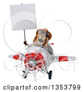3d Male Lion Aviator Pilot Aviatior Pilot Wearing Sunglasses Holding A Blank Sign And Flying A White And Red Airplane On A White Background