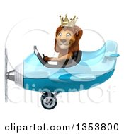Clipart Of A 3d Male Lion King Aviator Pilot Aviatior Pilot Flying A Blue Airplane On A White Background Royalty Free Vector Illustration