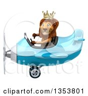 Clipart Of A 3d Male Lion King Aviator Pilot Aviatior Pilot Giving A Thumb Down And Flying A Blue Airplane On A White Background Royalty Free Vector Illustration