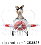 Clipart Of A 3d Kangaroo Aviatior Pilot Wearing Sunglasses And Flying A White And Red Airplane On A White Background Royalty Free Vector Illustration by Julos