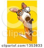 Clipart Of A Cartoon Bespectacled Kangaroo Looking Around A Sign On A Yellow And Orange Background Royalty Free Vector Illustration