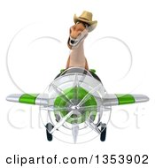 Clipart Of A 3d Brown Cowboy Horse Aviator Pilot Flying A White And Green Airplane On A White Background Royalty Free Vector Illustration