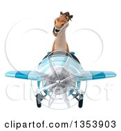Clipart Of A 3d Brown Aviatior Pilot Flying A Blue Airplane On A White Background Royalty Free Vector Illustration