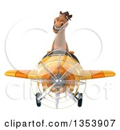 Clipart Of A 3d Brown Aviatior Pilot Flying A Yellow Airplane On A White Background Royalty Free Vector Illustration