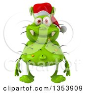 Clipart Of A 3d Green Christmas Germ Virus Wearing A Santa Hat On A White Background Royalty Free Vector Illustration by Julos