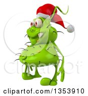 Clipart Of A 3d Green Christmas Germ Virus Wearing A Santa Hat On A White Background Royalty Free Vector Illustration