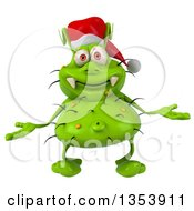 Clipart Of A 3d Green Christmas Germ Virus Wearing A Santa Hat And Shrugging On A White Background Royalty Free Vector Illustration