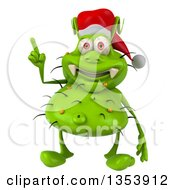 Clipart Of A 3d Green Christmas Germ Virus Wearing A Santa Hat And Holding Up A Finger On A White Background Royalty Free Vector Illustration