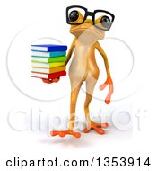 Clipart Of A 3d Bespectacled Yellow Springer Frog Walking And Holding A Stack Of Books On A White Background Royalty Free Vector Illustration