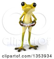 Clipart Of A 3d Light Green Springer Frog Reading A Book On A White Background Royalty Free Vector Illustration by Julos