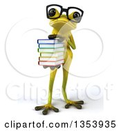 Clipart Of A 3d Bespectacled Light Green Springer Frog Holding A Stack Of Books On A White Background Royalty Free Vector Illustration