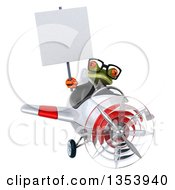 Clipart Of A 3d Bespectacled Green Business Springer Frog Aviatior Pilot Holding A Blank Sign And Flying A White And Red Airplane On A White Background Royalty Free Vector Illustration