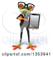 Clipart Of A 3d Bespectacled Green Business Frog Holding And Pointing To A Tablet Computer On A White Background Royalty Free Vector Illustration