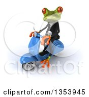 3d Green Business Springer Frog Riding A Blue Scooter On A White Background