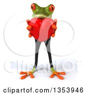 Clipart Of A 3d Green Business Frog Holding A Red Love Heart On A White Background Royalty Free Vector Illustration