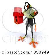 Clipart Of A 3d Bespectacled Green Business Frog Holding A Red House On A White Background Royalty Free Vector Illustration
