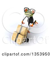 Clipart Of A 3d Bespectacled Green Business Frog Moving Boxes On A Dolly On A White Background Royalty Free Vector Illustration