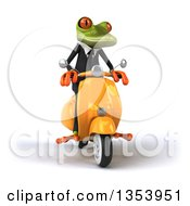 3d Green Business Springer Frog Riding A Yellow Scooter On A White Background