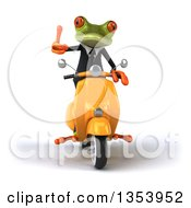 Clipart Of A 3d Green Business Springer Frog Giving A Thumb Up And Riding A Yellow Scooter On A White Background Royalty Free Vector Illustration
