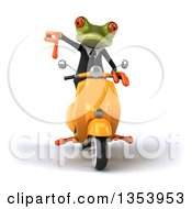 Clipart Of A 3d Green Business Springer Frog Giving A Thumb Down And Riding A Yellow Scooter On A White Background Royalty Free Vector Illustration