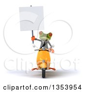 3d Green Business Springer Frog Holding A Blank Sign And Riding A Yellow Scooter On A White Background