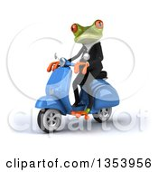 Clipart Of A 3d Green Business Springer Frog Riding A Blue Scooter On A White Background Royalty Free Vector Illustration