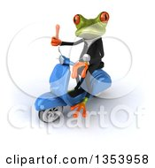 Clipart Of A 3d Green Business Springer Frog Giving A Thumb Up And Riding A Blue Scooter On A White Background Royalty Free Vector Illustration