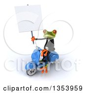 3d Green Business Springer Frog Holding A Blank Sign And Riding A Blue Scooter On A White Background