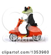 3d Green Business Springer Frog Wearing Sunglasses And Riding A Red Scooter On A White Background