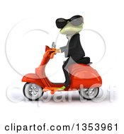 Clipart Of A 3d Green Business Springer Frog Wearing Sunglasses And Riding A Red Scooter On A White Background Royalty Free Vector Illustration