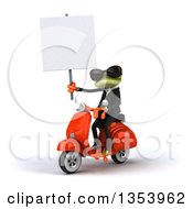 3d Green Business Springer Frog Wearing Sunglasses Holding A Blank Sign And Riding A Red Scooter On A White Background