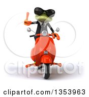 Clipart Of A 3d Green Business Springer Frog Wearing Sunglasses Giving A Thumb Up And Riding A Red Scooter On A White Background Royalty Free Vector Illustration