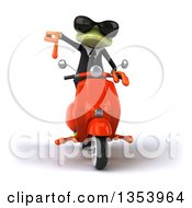 Clipart Of A 3d Green Business Springer Frog Wearing Sunglasses Giving A Thumb Down And Riding A Red Scooter On A White Background Royalty Free Vector Illustration