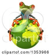 Clipart Of A 3d Green Doctor Springer Frog Hugging Planet Earth On A White Background Royalty Free Vector Illustration
