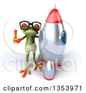 Clipart Of A 3d Bespectacled Green Springer Frog Giving A Thumb Up By A Rocket On A White Background Royalty Free Vector Illustration