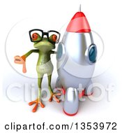 Clipart Of A 3d Bespectacled Green Springer Frog Giving A Thumb Down By A Rocket On A White Background Royalty Free Vector Illustration