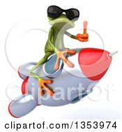 Clipart Of A 3d Green Springer Frog Wearing Sunglasses Giving A Thumb Up And Riding A Rocket On A White Background Royalty Free Vector Illustration