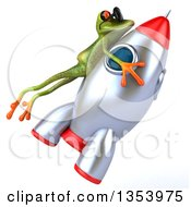 Clipart Of A 3d Green Springer Frog Wearing Sunglasses And Riding A Rocket On A White Background Royalty Free Vector Illustration