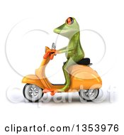 3d Green Springer Frog Riding A Yellow Scooter On A White Background
