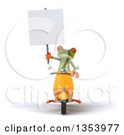 Clipart Of A 3d Green Springer Frog Holding A Blank Sign And Riding A Yellow Scooter On A White Background Royalty Free Vector Illustration