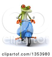 Clipart Of A 3d Green Springer Frog Riding A Blue Scooter On A White Background Royalty Free Vector Illustration