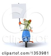 Clipart Of A 3d Green Springer Frog Holding A Blank Sign And Riding A Blue Scooter On A White Background Royalty Free Vector Illustration