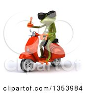 Clipart Of A 3d Green Springer Frog Wearing Sunglasses Giving A Thumb Up And Riding A Red Scooter On A White Background Royalty Free Vector Illustration