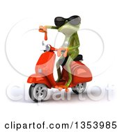 Clipart Of A 3d Green Springer Frog Wearing Sunglasses Giving A Thumb Down And Riding A Red Scooter On A White Background Royalty Free Vector Illustration