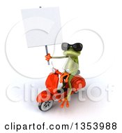 Clipart Of A 3d Green Springer Frog Wearing Sunglasses Holding A Blank Sign And Riding A Red Scooter On A White Background Royalty Free Vector Illustration