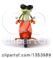 3d Green Springer Frog Wearing Sunglasses And Riding A Red Scooter On A White Background