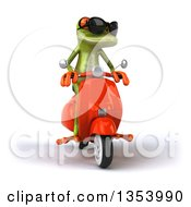Clipart Of A 3d Green Springer Frog Wearing Sunglasses And Riding A Red Scooter On A White Background Royalty Free Vector Illustration