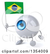 Clipart Of A 3d Blue Eyeball Character Holding A Brazilian Flag And Walking On A White Background Royalty Free Vector Illustration