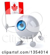 Clipart Of A 3d Blue Eyeball Character Holding A Canadian Flag And Walking On A White Background Royalty Free Vector Illustration